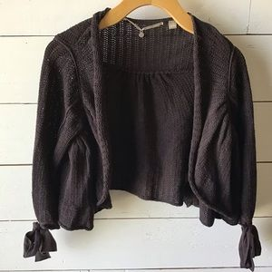 Anthropologie Knitted&Knotted Crop Open Cardigan